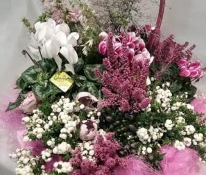 Composizione autunno, fiori e bacche