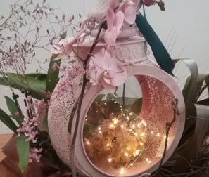 Composizione con Orchidee nei toni del rosa